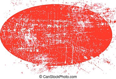 red ellipse grunge stamp with blank siolated on white background.