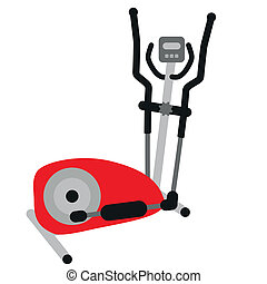 red elliptical cross trainer with display - symbol of...