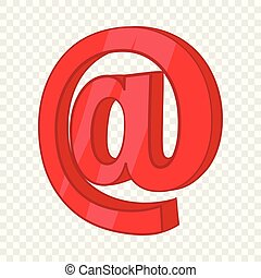 Red email sign icon, cartoon style