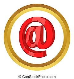 Red email sign icon