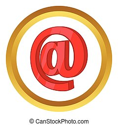 Red email sign vector icon