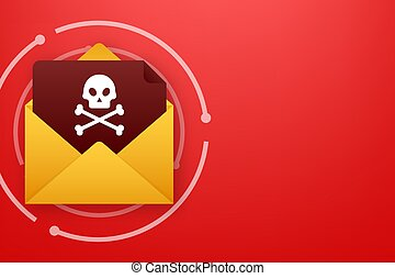 Red email virus. Computer screen. virus, piracy, hacking and security, protection Vector stock illustration