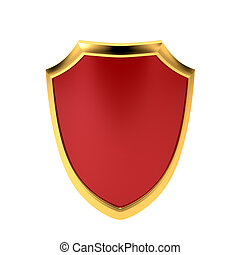 Red emblem, isolated on white background. Symbol of protection. 3d illustration.