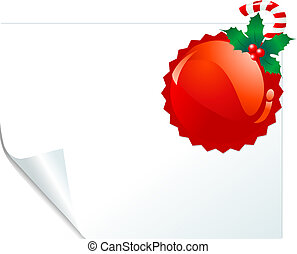 Red emblem page - Christmas red emblem on curled paper. ...