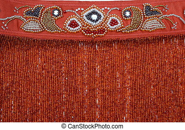 Red embroidery with beads