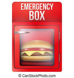 Red emergency box with hamburger.