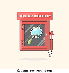 Red emergency box with in case of emergency breakable glass. Box