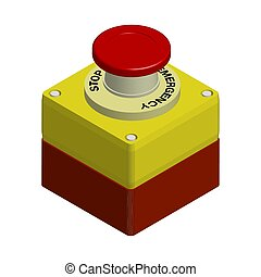 red emergency stop button. Actions in a dangerous situation. Realistic 3d vector on white background