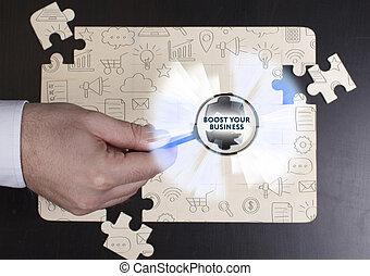 red, empresa / negocio, concept., joven, empresa / negocio, internet, hombre de negocios, tecnología, exposiciones, alza, su, word: