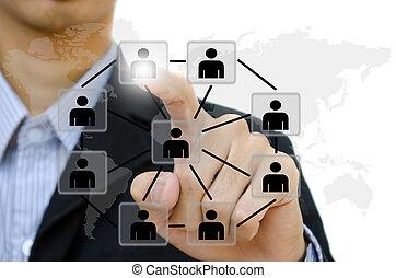 red, empresarios, comunicación, empujar, joven, whiteboard., social