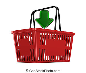 Red empty shopping basket on white background. Isolated 3d...