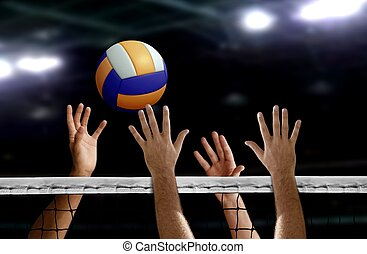red, encima, mano, bloque, empalar voleibol