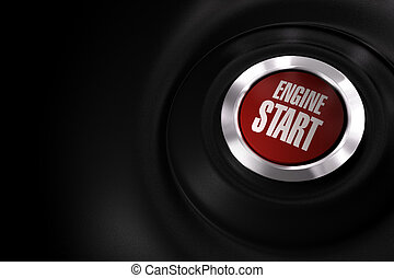 red engine start button over a black background with copy space on the left side of the image