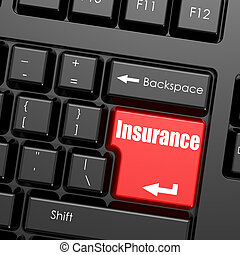 Red enter button on computer keyboard, Insurance word