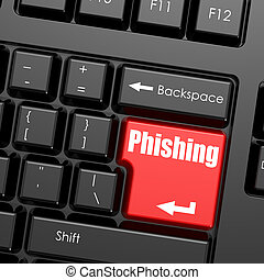 Red enter button on computer keyboard, Phishing word