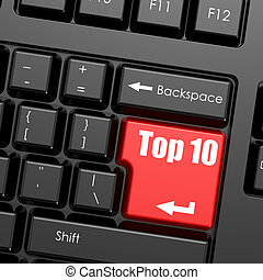Red enter button on computer keyboard, Top 10 word