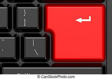 Red enter key on black keyboard