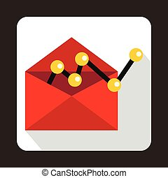 Red envellope with graph icon in flat style