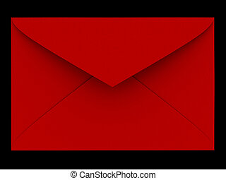 A red envelope - rendered in 3d