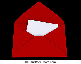 A red envelope with blank paper - rendered in 3d