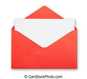 Red envelope isolated clipping path.