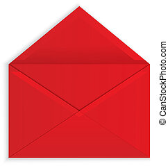 Vector illustration of red open paper envelope with realistic shadows isolated on white