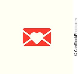 Red envelope with a white heart close-up - new letter