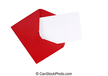 Red envelope with blank white greeting card