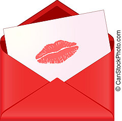 red envelope with lipstick kiss