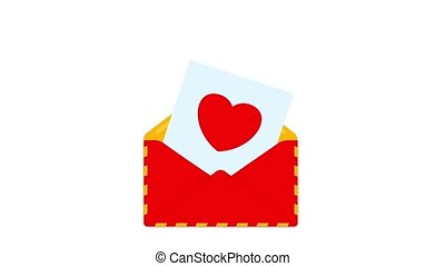Red envelope with love letter for valentines day