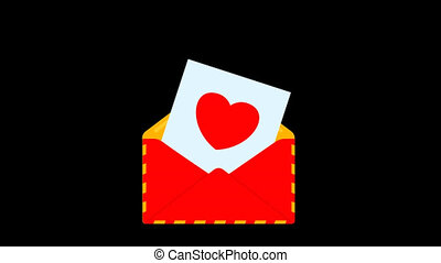 Red envelope with love letter. Heart shape. Image for...
