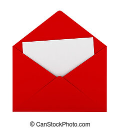 Red envelope with sheet of paper. 3d illustration on white...