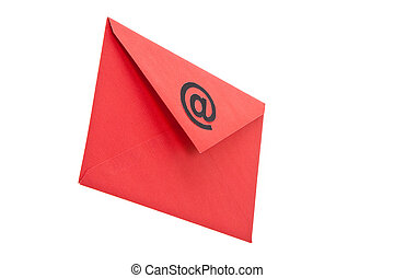 E-Mail - Red Envelope with @ Symbol, concept of E-Mail