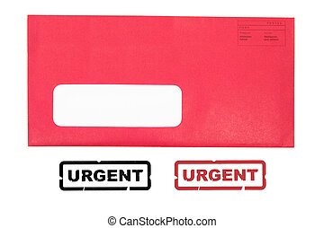 red envelope with urgent stamp