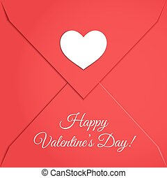 Red Envelope with White Paper Heart