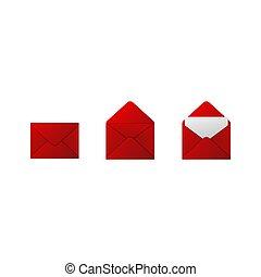 Red envelopes on white background. Vector illustration.