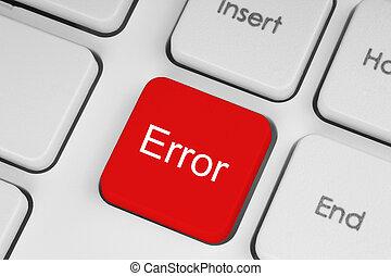 Red error keyboard button close-up