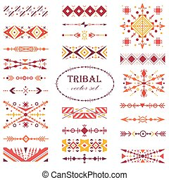 Red ethnic vector set. Brush set in tribal style.