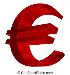 Red euro sign on white