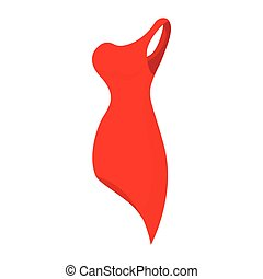 Red evening dress icon, cartoon style