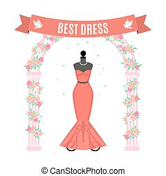 Red Evening Dress. Vintage dress on mannequin. Vector.