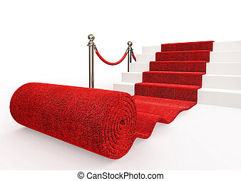 event carpet - red event carpet isolated on a white...