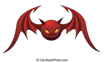 Evil Bat - Red Evil Bat - isolated on white