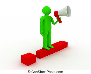 red exclamation mark and 3d people with megaphone. 3d rendered illustration