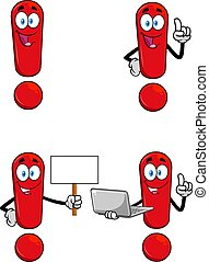 Red Exclamation Mark Cartoon Character