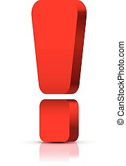 Red exclamation mark , isolated on white