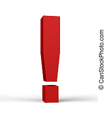 red exclamation mark, isolated on a white