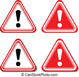 Red Exclamation Sign, Danger signs. Isolated, Vector Illustration