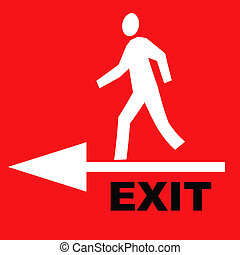 exit sign - red exit sign with person and arrow