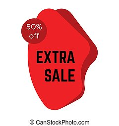 Red extra sale sticker with text